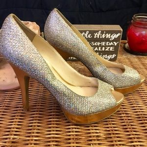 Beautiful Sparkly Pumps with Gold Heel